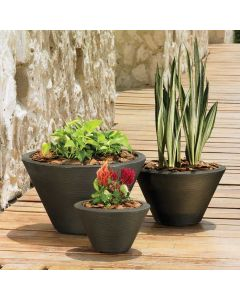 three low profile bowl planters filled with various plants on a wooden walkway next to a light stone wall
