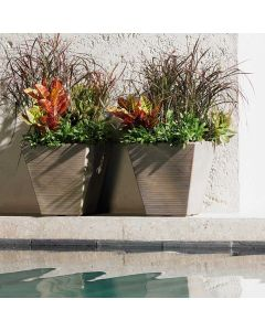 two slate square garden planters filled with decorative grasses on a ledge