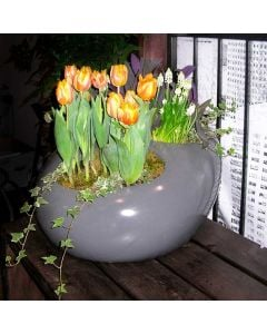 a grey river rock tabletop fiberglass planter growing orange tulips and white flowers next to a window