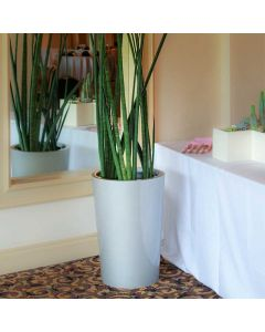 a corner of a room with a mirror and table are accented by a grey conical planter with tall decorative grasses
