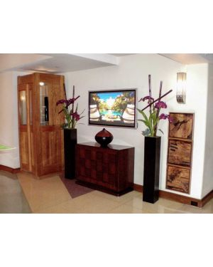 entryway with hall table and photo accented with two black tall square column fiberglass planter pots filled with purple orchid flowers
