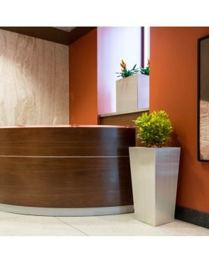 aluminum tapered square planter placed in front of a front desk in an office with orange walls